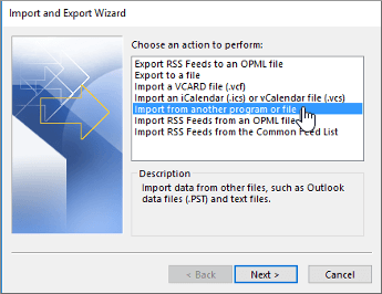 import and export wizard - import from another program or file