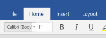 Home tab in Word Mobile in Windows 10