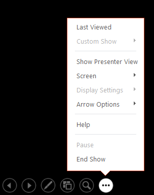 ShowsPowerPoint presenter view menu