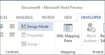 Design Mode button