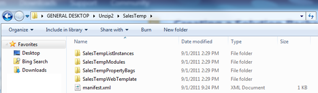 Screenshot of Windows Explorer that shows an unzipped Web Solution Package (.wsp).