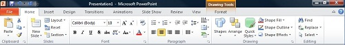 The Home tab in PowerPoint 2010
