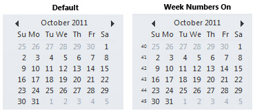 The Date Navigator in the To-Do Bar with and without week numbers