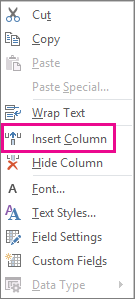 Insert Column command on the right-click menu