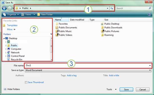 Windows Vista and Windows 7 Save As dialog