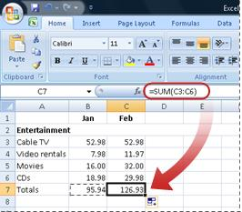 Example of how the copied formula is immediately applied to the new column
