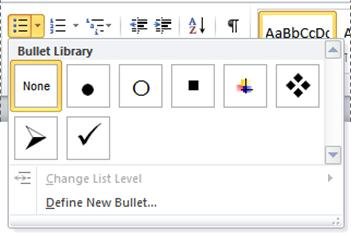 Word 2010 Bullet Library