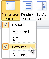 Navigation Pane menu