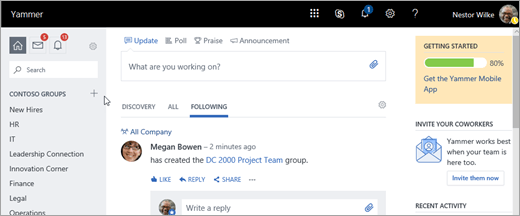 Screenshot of Yammer.com home page