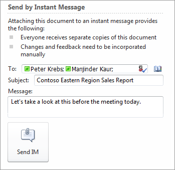 Send a document using Lync 2010 from the Office 2010 File tab