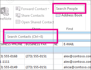 Search People box compared to the Search Contacts box