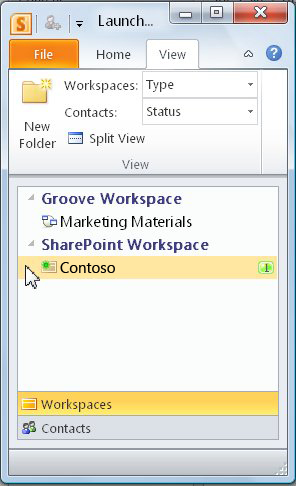A SharePoint workspace in the Launchbar