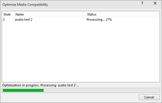 Compatibility processing dialog