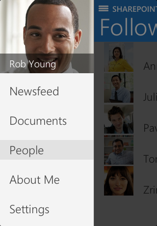 Screenshot of About Me pivot in SharePoint Newsfeed app