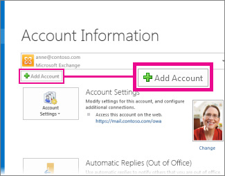 Add Account command in the Backstage view