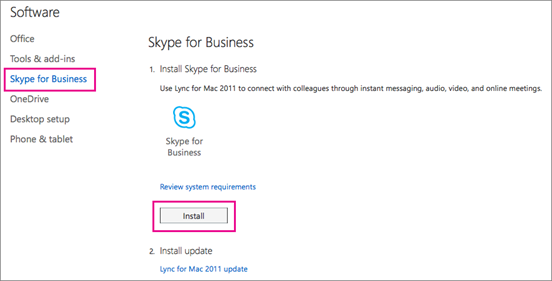 Choose Skype for Business and then choose Install.