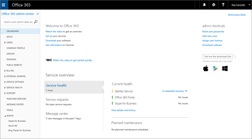 An example of what the Office 365 admin center looks like when you have a Skype for Business Online Plan.