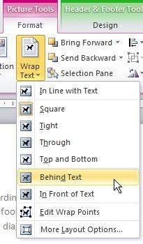 Behind Text wrapping option
