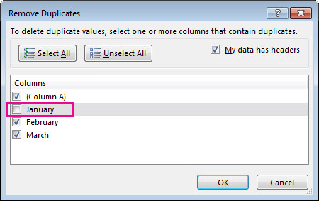 Remove duplicates dialog box