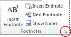 Word 2010 Footnote & endnote Dialogue Box Launcher