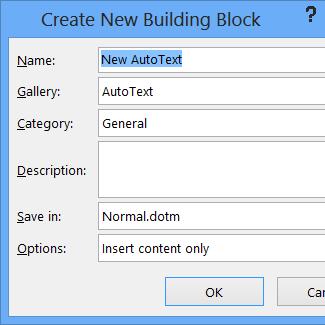 Create New Building Block dialog box