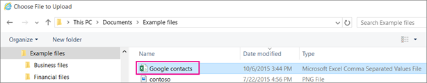 Browse to a CSV file with contacts to upload.