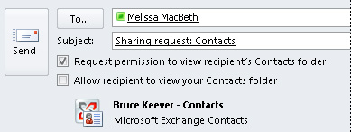 Request access to another's Exchange Contacts.