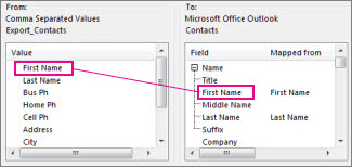 Mapping a column from Excel to an Outlook contact field