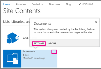 Documents hover card showing a link to Settings