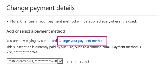 Change payment details page with Change payment method link highlighted.