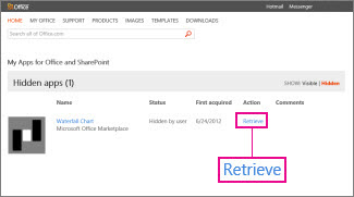Retrieve an app for Office