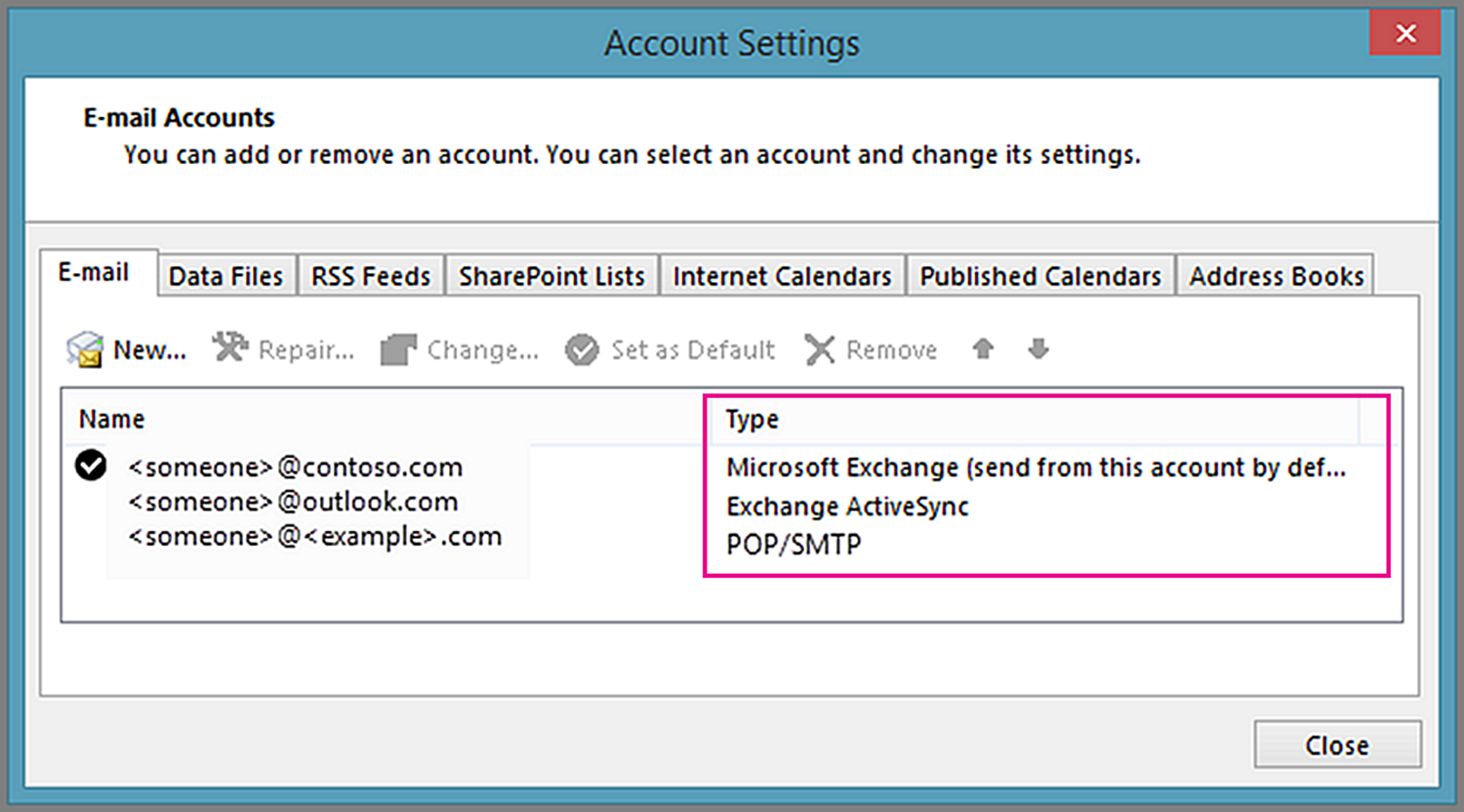 See the type of account you have in the Account Settings window in Outlook