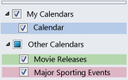 Other Calendars listed in the Navigation Pane