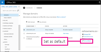 On the Manage domains page, choose Set as default