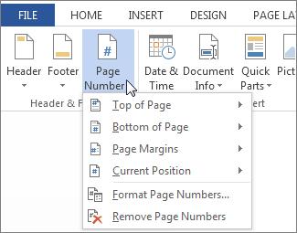 Page Number menu
