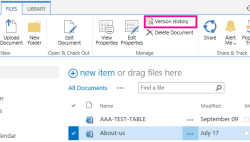Pages > File menu with Version History selected
