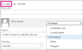 Send button to share your calendar in Outlook Web App.