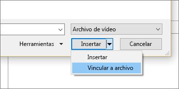 Muestra el cuadro de diálogo Insertar vídeo en PowerPoint
