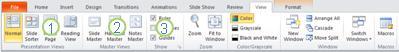 La ficha Ver en la cinta de PowerPoint2010.