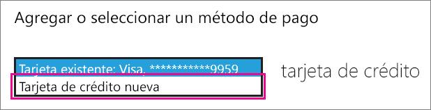 """Captura de pantalla que muestra el menú desplegable de """"Agregar o seleccionar un método de pago"""""""
