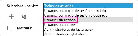 Captura de pantalla de la página Usuarios activos con el menú Vista expandido y la opción Usuarios sin licencia resaltada.