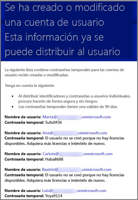 Correo electrónico de ejemplo con información de credenciales de usuario