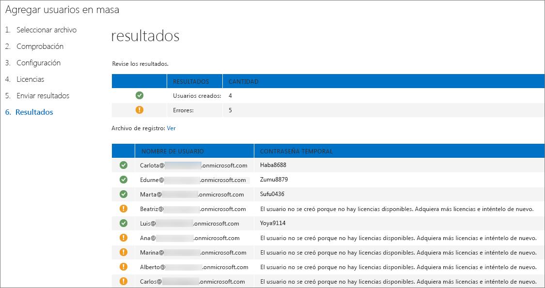Paso 6 del asistente para Agregar usuarios en masa: enviar resultados