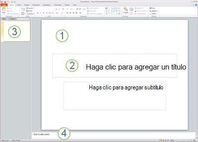 Área de trabajo, o vista Normal, de PowerPoint2010 con cuatro áreas etiquetadas.