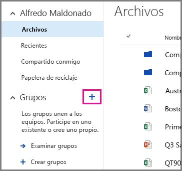 Captura de pantalla de la creación de un grupo de OneDrive para la Empresa mediante un clic en el signo más