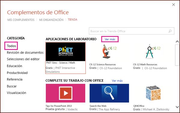 Cuadro de diálogo Complementos de Office con el vínculo Todos y ver más resaltado