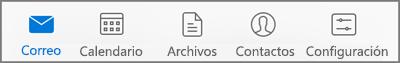 Seleccione un icono para ver el correo, el calendario, los usuarios (contactos), los archivos o las configuraciones