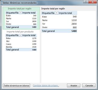 En Tablas dinámicas recomendadas seleccione Diseño de tabla dinámica en Excel