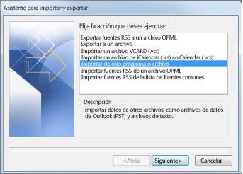 Asistente para importar y exportar