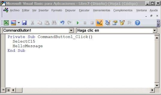 Subprocedimiento en el Editor de Visual Basic